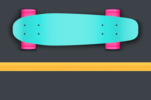 Longboard on asphalt