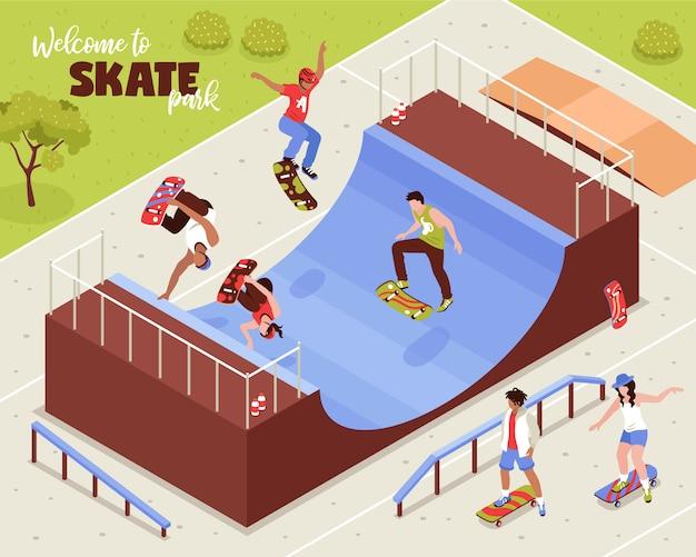 Изометрическая композиция скейтборд с открытым пейзажем с людьми, езда longboards на четверти трубы и роликовые балки векторная иллюстрация