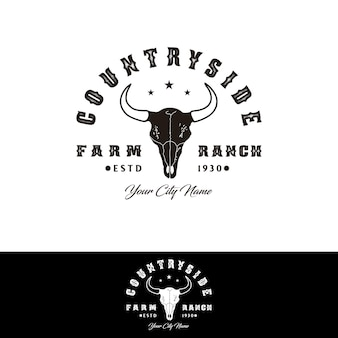 Longhorn bull buffalo cow skull for western countryside farm ranch country logo design