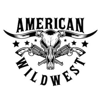 Longhorn bull and wild west pistols