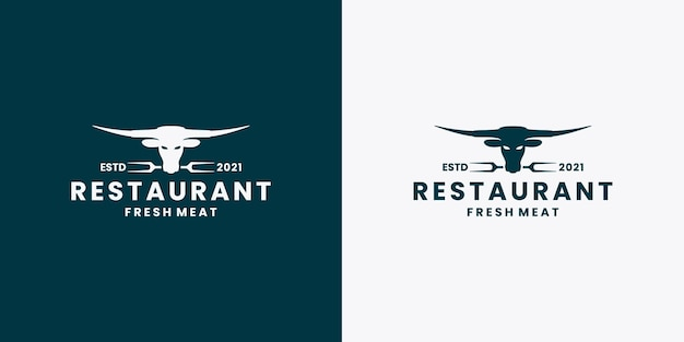 ロングホーン、牛、水牛、レストランのロゴデザインベクトル