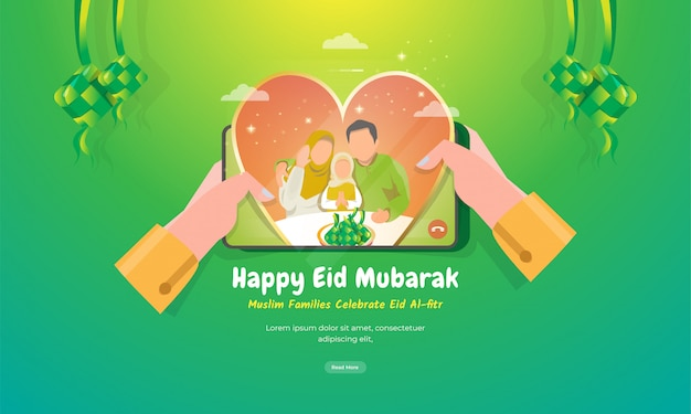 Look at muslim families in love on mobile screen for eid mubarak greeting concept