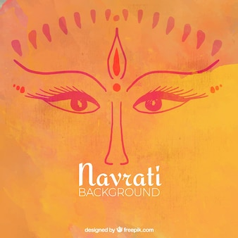 Look of durga goddess orange watercolor background