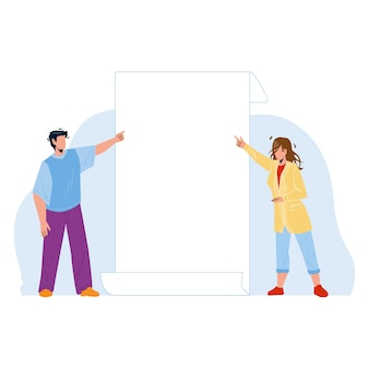 Look on paper list showing boy and girl vector. young man and woman talking look and pointing on blank card. characters managers businesspeople advertising flat cartoon illustration