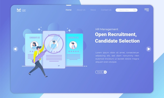 Looking for the best candidates the landing page template