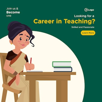 Looking for a career in teaching banner design in cartoon style
