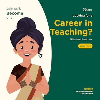 Looking for a career in teaching banner design template in cartoon style Premium Vector