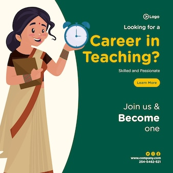 Looking for a career in teaching banner design template in cartoon style