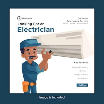 Looking for an electrician banner design for social media with electrician fixing the air conditioner