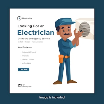 電気技師のフィッティングエアコンを備えたソーシャルメディアの電気技師のバナーデザインを探しています