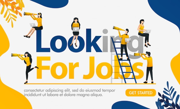 Looking for jobs poster with illustrations of everyone seeing binoculars