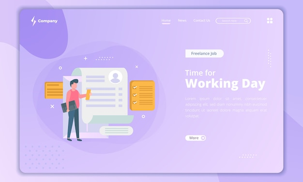 Looking for a new job, time for working day concept on landing page