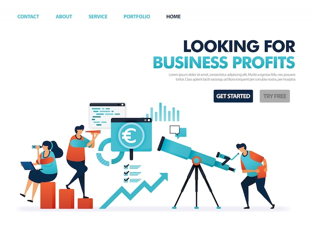Looking for profit in company business, see opportunity for smart business, looking at development and cooperation in business.