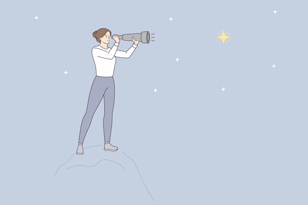 Looking at stars with binoculars concept. young woman cartoon character standing looking at stars on sky through binoculars vector illustration