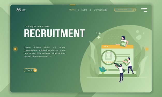 Looking for teammates, recruitment illustration on landing page