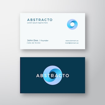 Loop circle abstract sign or logo and business card