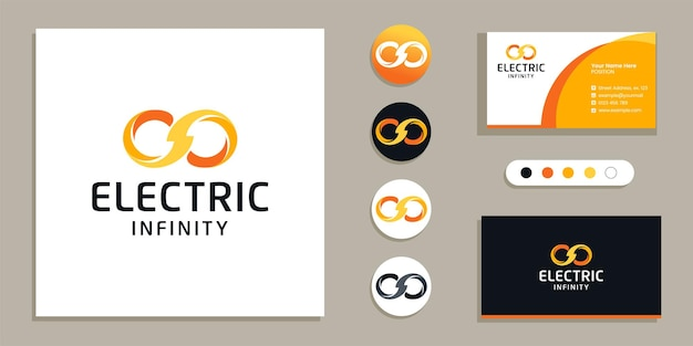 Loop, limitless, electric infinity logo and business card design template inspiration