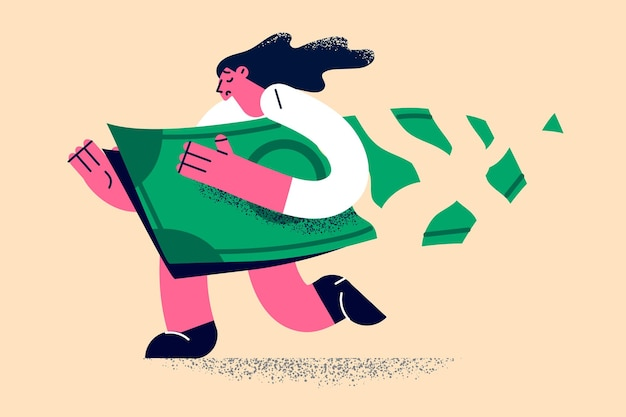 Loose money and financial loss concept Premium Vector