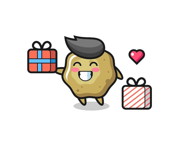 Loose stools mascot cartoon giving the gift , cute style design for t shirt, sticker, logo element