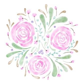 느슨한 스타일 수채화 장미