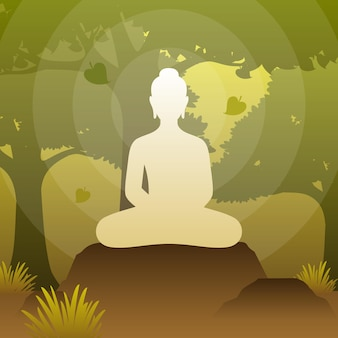 Lord buddha sit on under bodhi tree in meditation pose in forest