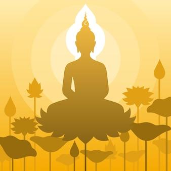 仏陀は瞑想のポーズで蓮の花に座ります