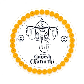 Lord ganesh chaturthi indian festival wishes card