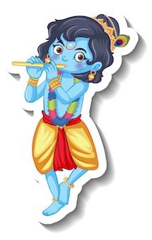Lord krishna kid cartoon character sticker