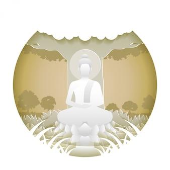 Властелин медитации будды сидит на цветке лотоса. стиль бумажного искусства