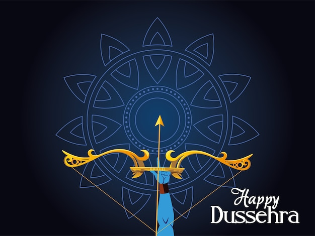Lord ram arm with bow and arrow in front of blue mandala design, happy dussehra festival and indian theme illustration