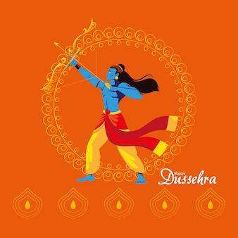 오렌지 배경 디자인, 해피 dussehra 축제 및 인도 테마 일러스트에 만다라 앞의 활과 화살과 주님 램 만화