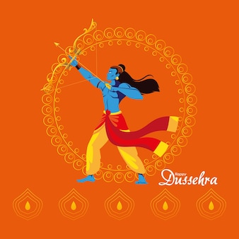 Lord ram cartoon with bow and arrow in front of mandala on orange background design, happy dussehra festival and indian theme illustration