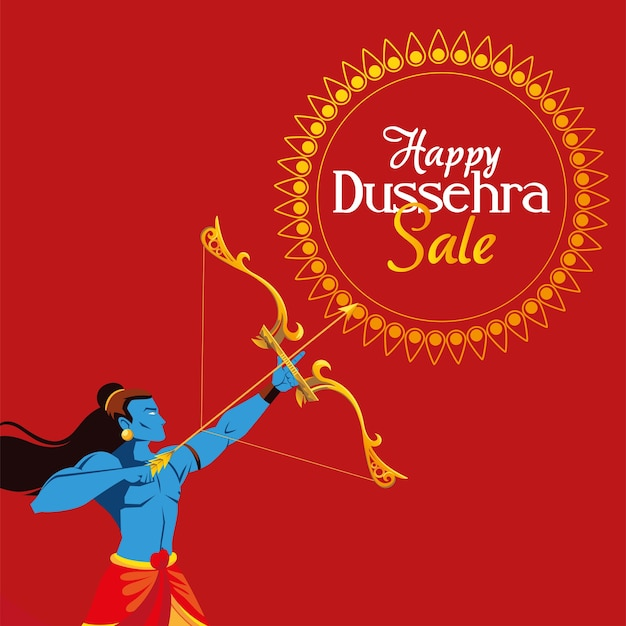 Lord ram cartoon with bow and arrow with mandala design, happy dussehra festival and indian theme illustration