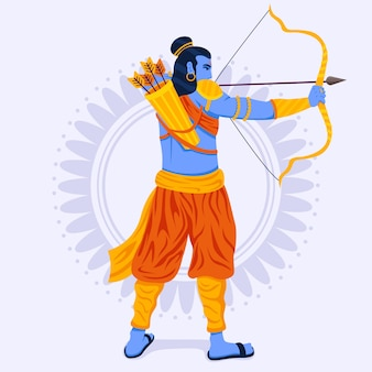 Lord rama being confident with golden bow