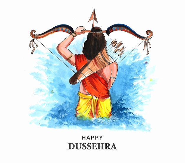 Lord rama happy dussehra festival wishes card watercolor background