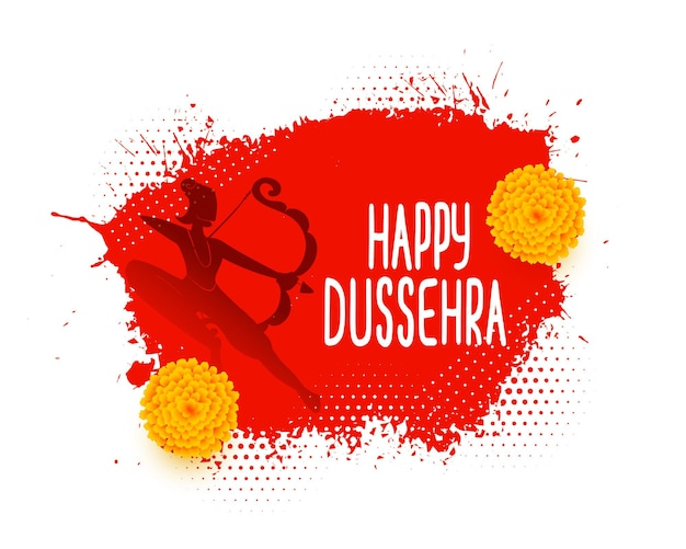 Lord rama holding bow for dussehra festival card