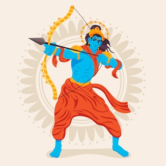 Lord rama holding a golden bow flat design