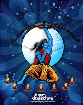 Господь рама убивает равану на фестивале наваратри для индуистского фестиваля happy dussehra vijayadashami