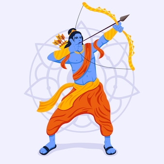 Lord rama pointing his bow in the sky