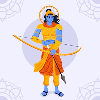 Lord rama preparing his arrow and bow