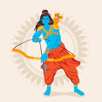 Lord rama ready to use the bow and arrow