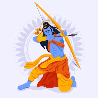 Lord rama sitting in attack position and using the bow