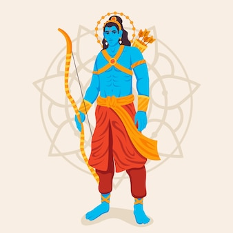 Lord rama standing with a bow in hand