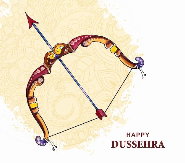 Lord rama con la freccia che uccide ravana in un felice design dussehra