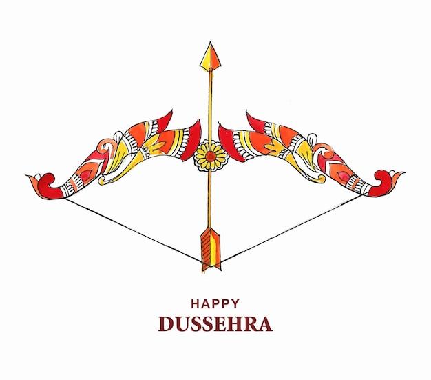 Lord rama with arrow killing ravana in happy dussehra design