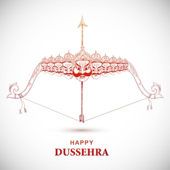 Lord rama with arrow killing ravana in happy dussehra sketch design