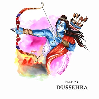 Господь рама со стрелой, убивающей равану на фоне карты фестиваля наваратри