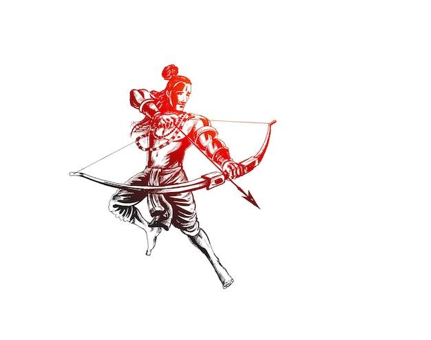 インドのナヴラトリ祭でラーヴァナを殺す矢を持ったラーマ卿のポスターとヒンディー語のテキストdussehra