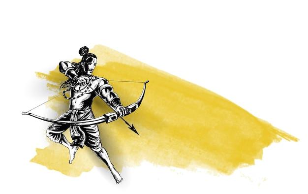 힌디어 텍스트 dussehra가 있는 인도의 navratri 축제에서 화살로 ravana를 죽이는 lord rama