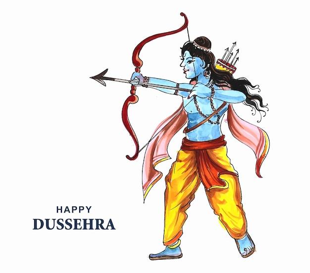 Lord rama with arrow killing ravana in navratri festival card background